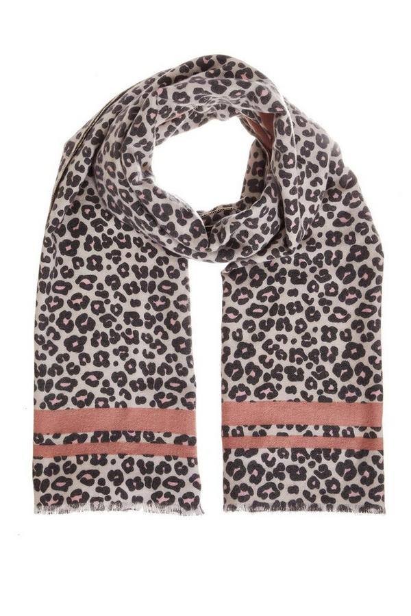 Bufanda Rosa y Gris con Estampado de Leopardo