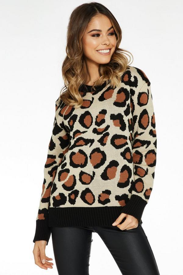 Jersey Piedra y Negro con Estampado de Leopardo