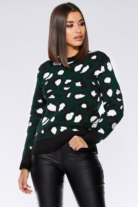 Green and Stone Leopard Print Long Sleeve Sweater
