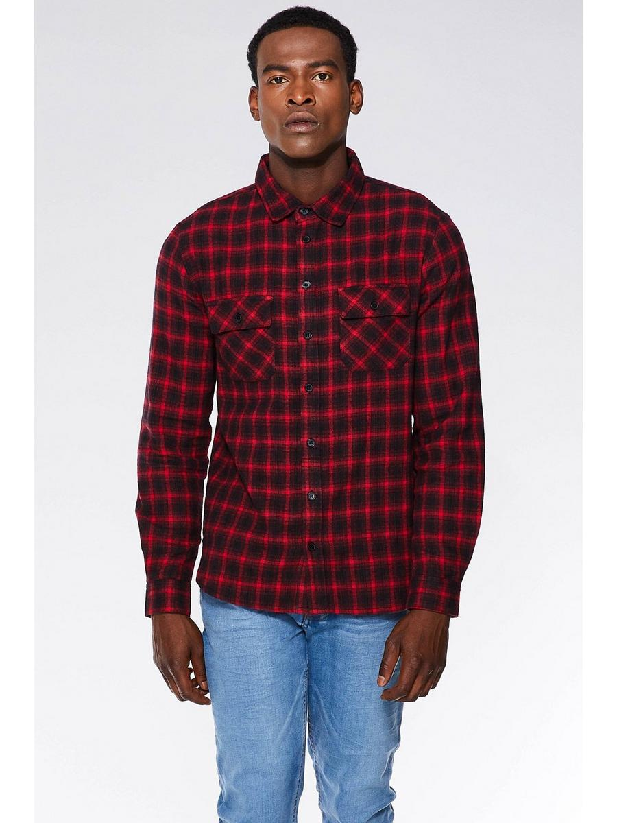 RED/BLACK COTTON FLANNEL LONG SLEEVE CHECK SHIRT