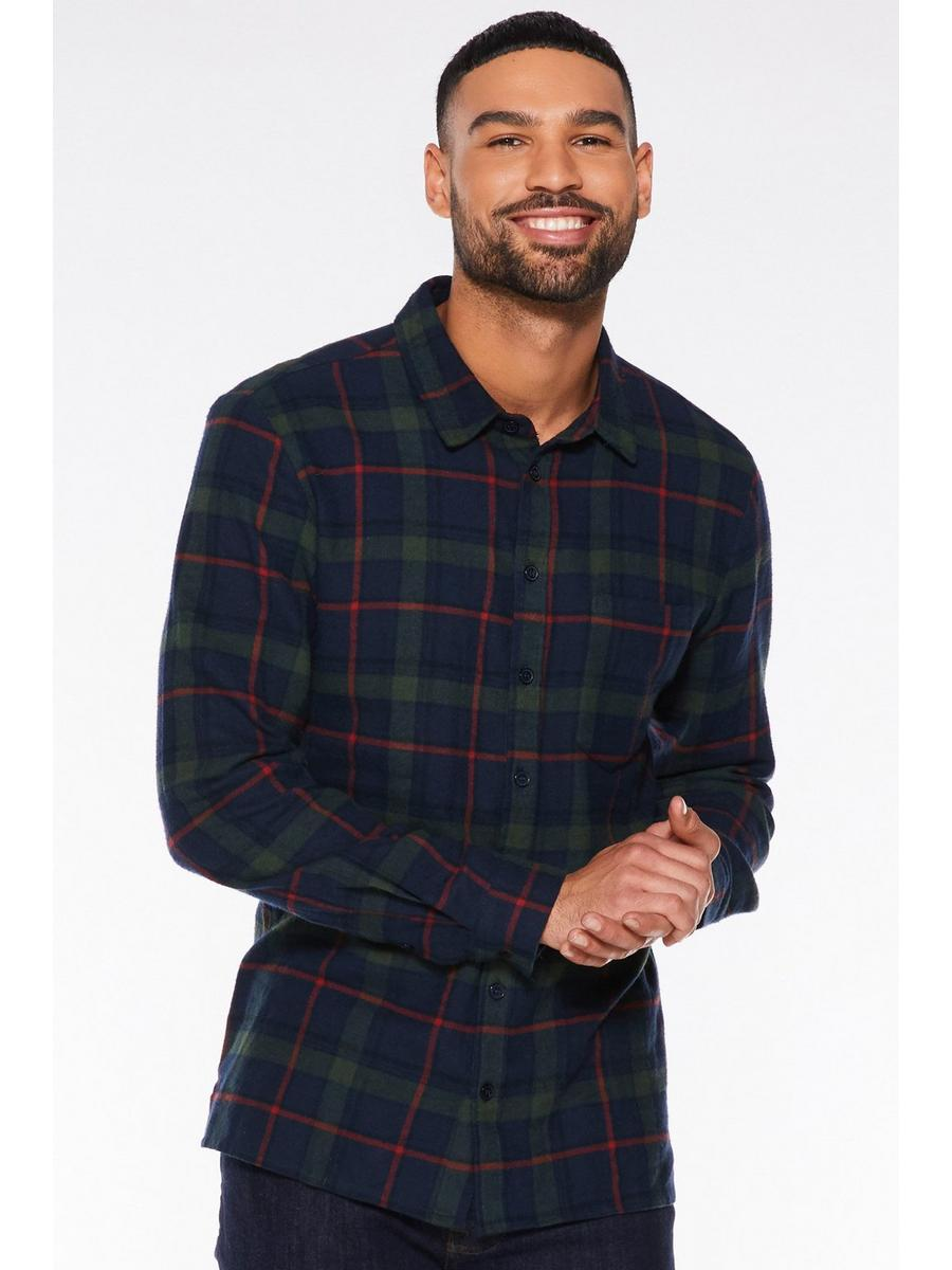 NAVY CHECK FLANNEL LONG SLEEVE SHIRT