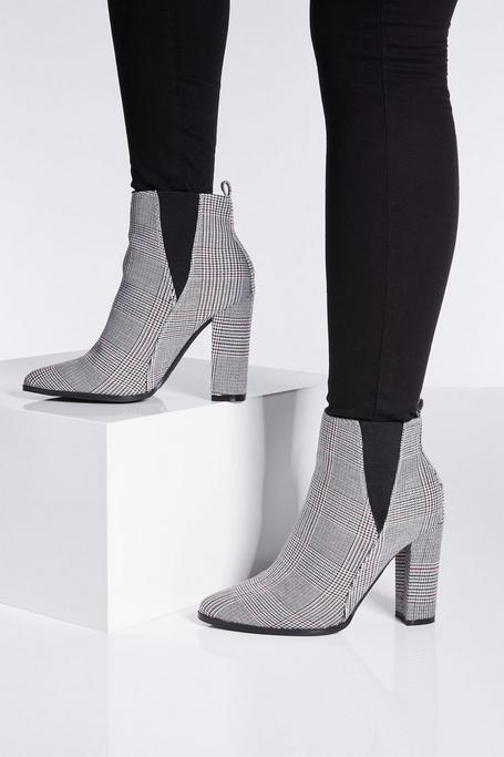 Check Print Block Heel Ankle Boots