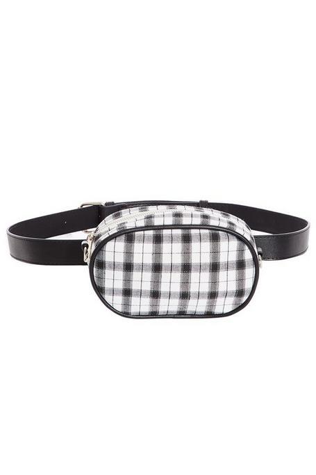 Black and White Check Bum Bag