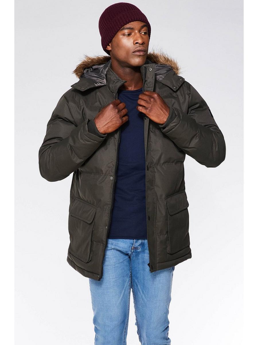 Olive Parka Jacket With Faux Fur Hood