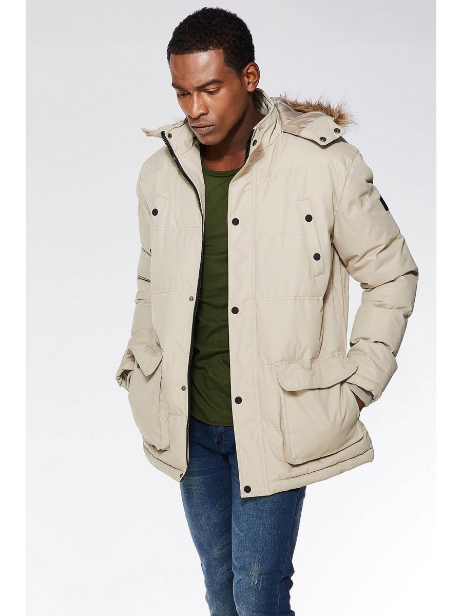 Stone Parka Jacket With Faux Fur Hood