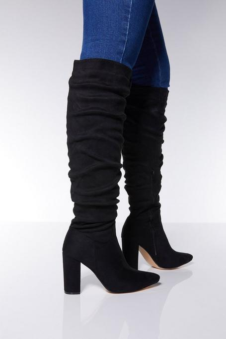 Black Faux Suede Knee High Heel Boots