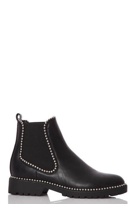 Black Flat Stud Boots