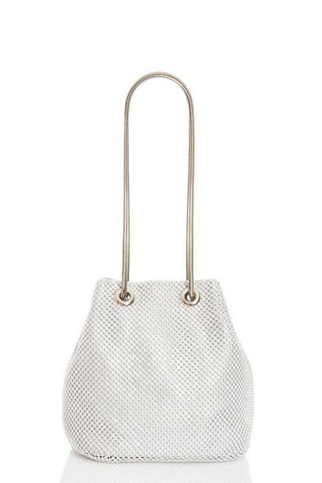 Silver Diamante Chain Pouch Bag