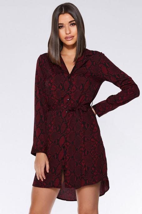 Berry and Black Snake Print Wrap Shirt Dress