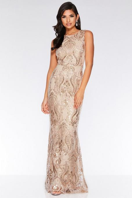 Champagne Sequin Maxi Dress