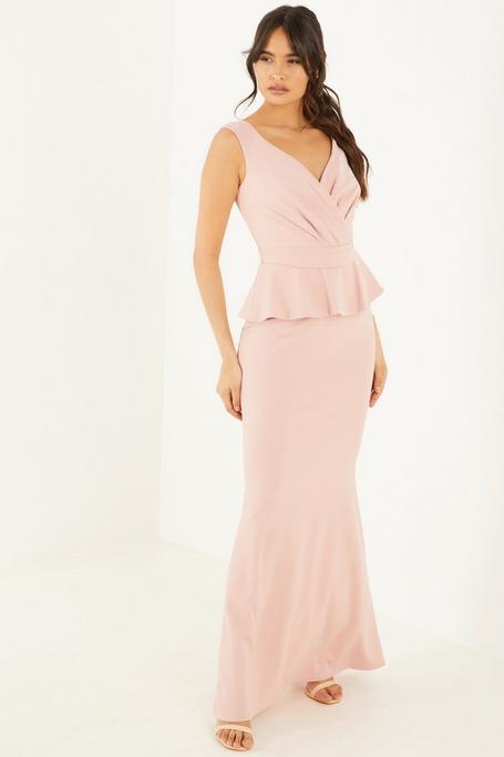 Nude Bardot Wrap Peplum Maxi Dress
