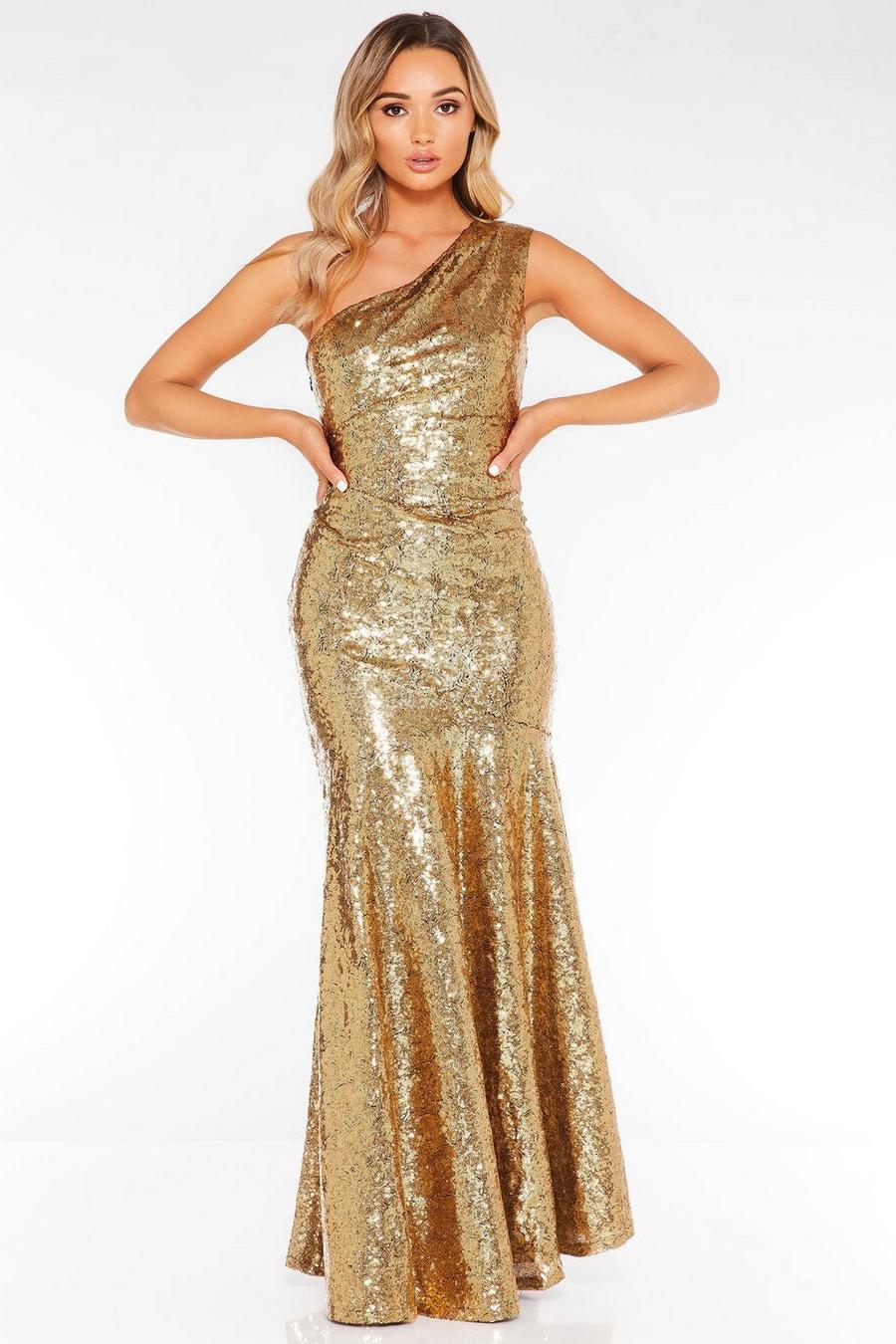 b69cc7197b56d Gold Sequin One Shoulder Fishtail Maxi Dress