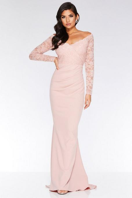 Nude Off The Shoulder Lace Mermaid Maxi Dress
