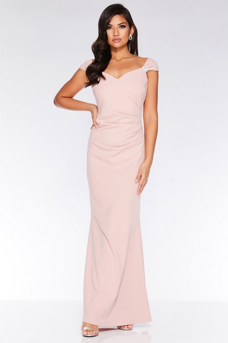 Nude Brooch Wrap Maxi Dress