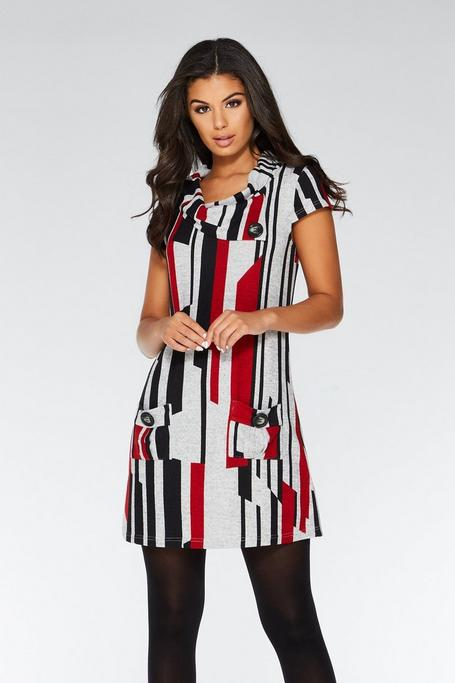 Red Black and Grey Cap Sleeve Tunic Dress
