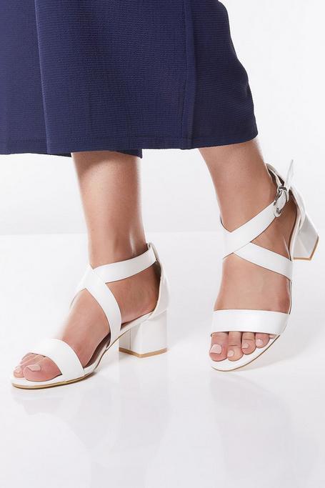 White Strap Block Heel Sandals