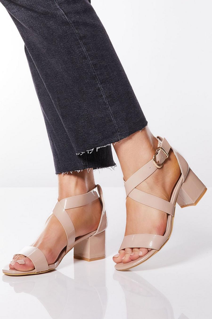 8ef3e6e73f4 Nude Patent Strap Heel Sandals
