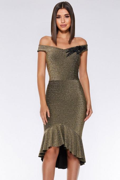 Gold Glitter Off The Shoulder Dip Hem Dress