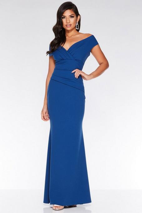 Vestido Largo Ajustado Azul con Cuello en V
