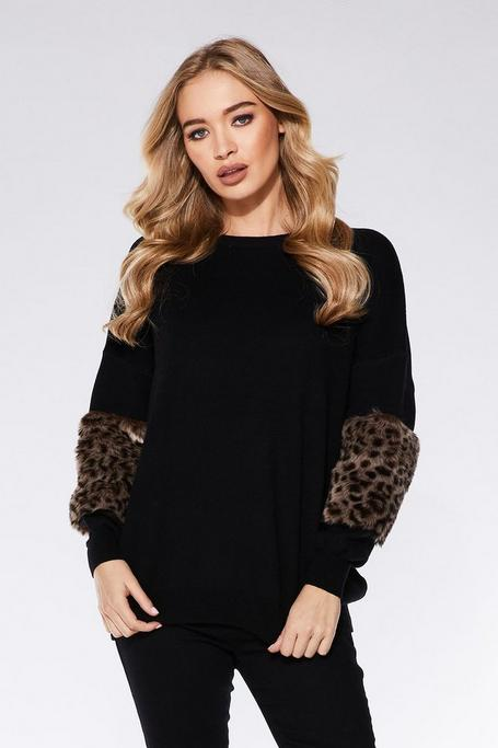 Black Knit Leopard Print Sweater