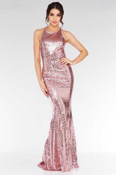 Pink Sequin Cross Over Back Maxi Dress
