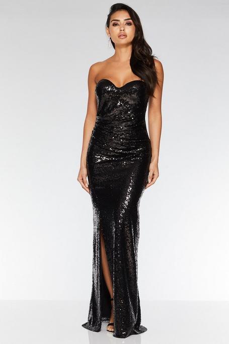 Black Sequin Bandeau Split Maxi Dress