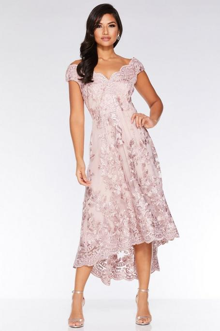 Blush Pink Embroidered Bardot Dip Hem Dress