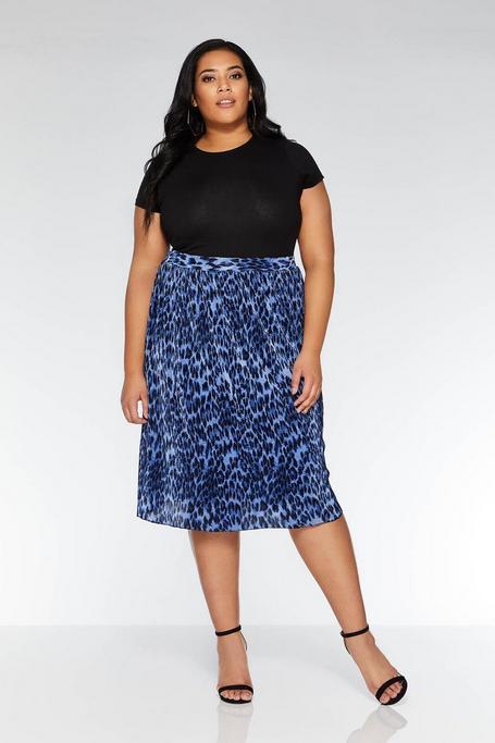 Plus Size Blue and Black Leopard Print Midi Skirt