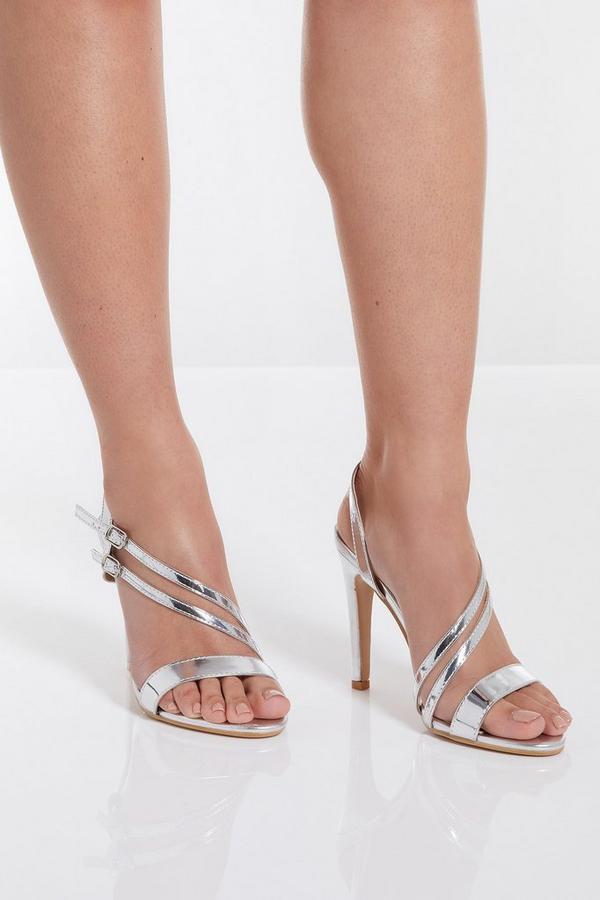 Sandalia de Tacón Asimétrica Plateada