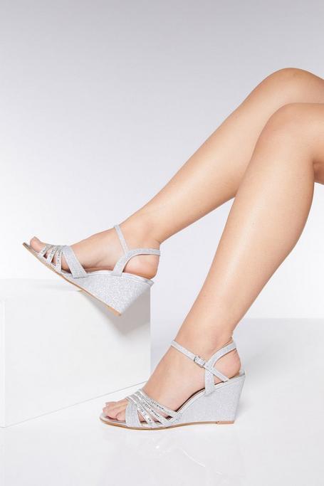Silver Diamante Wedge Sandals