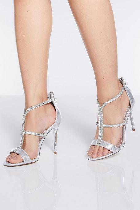 Sandalias de Tacón Plateadas con Tiras de Pedrería