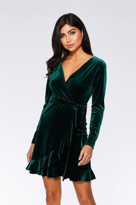 Bottle Green Velvet Wrap Long Sleeve Dress