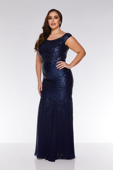 Plus Size Navy Sequin Chiffon Off The Shoulder Maxi Dress