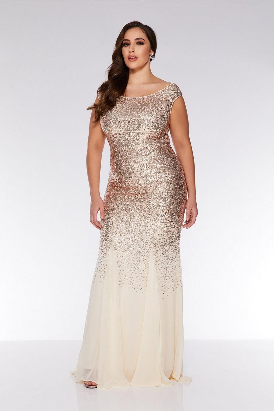 Plus Size Champagne Sequin Chiffon Off The Shoulder Maxi Dress