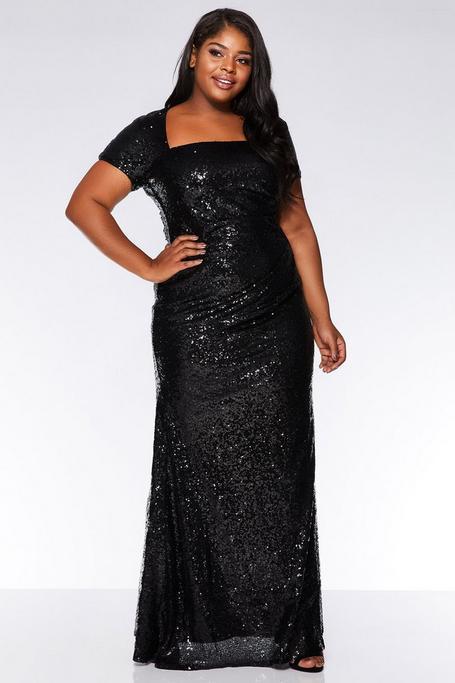 Plus Size Black Sequin Cap Sleeve Maxi Dress