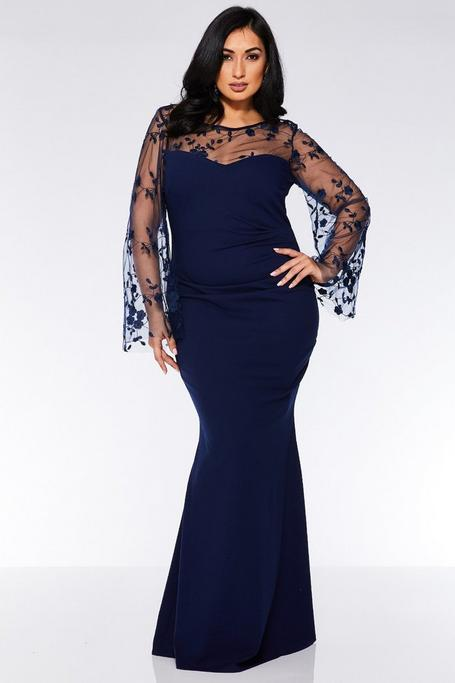 Plus Size Navy Embroidered Long Sleeve Maxi Dress