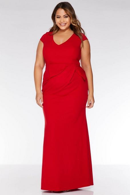 Vestido Largo Rojo Curve con Escote en V