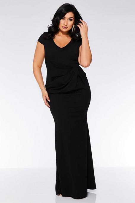 Vestido Largo Negro Curve con Mangas Cortas y Lazo