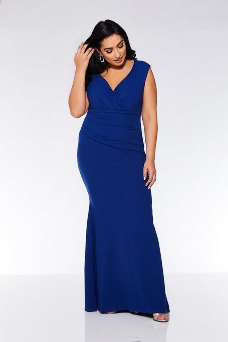 Vestido Largo Curve Azul Klein con Cuello Bardot