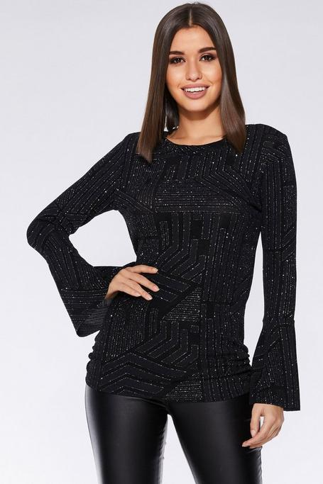 Black and Silver Long Sleeve Top