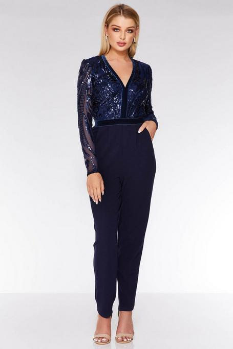 Navy Sequin Long Sleeve Jumpsuit