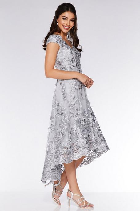 Gray Embroidered Off The Shoulder Dip Hem Dress