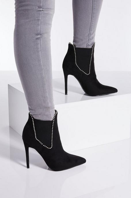 Black Stud Stiletto Heel Ankle Boots