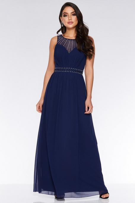 Vestido Largo de Gasa Azul Marino con Detalles