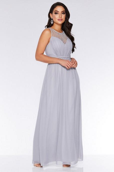 Gray Chiffon High Neck Maxi Dress