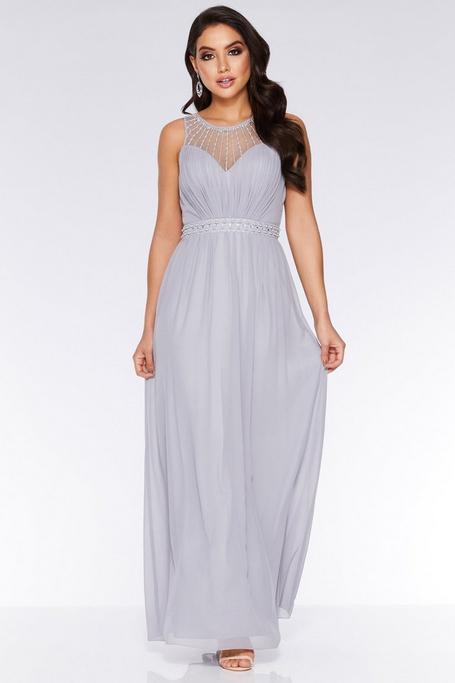 Grey Chiffon High Neck Maxi Dress