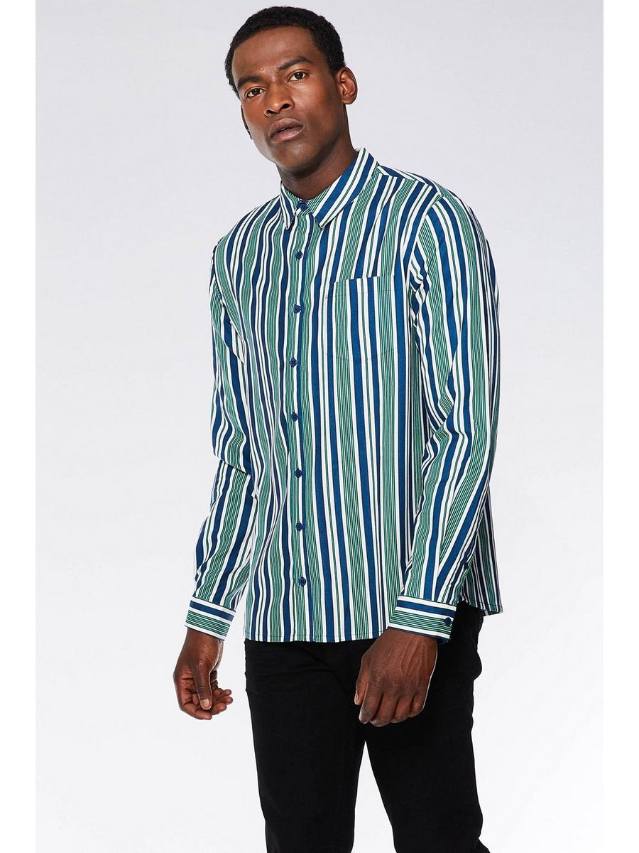 GREEN,WHITE & BLUE VERTICAL STRIPED SHIRT