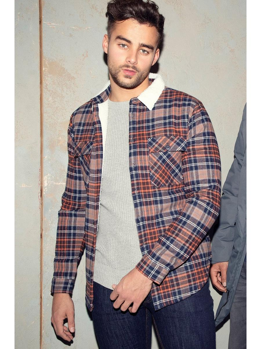 BROWN BORG CHECK OVERSHIRT
