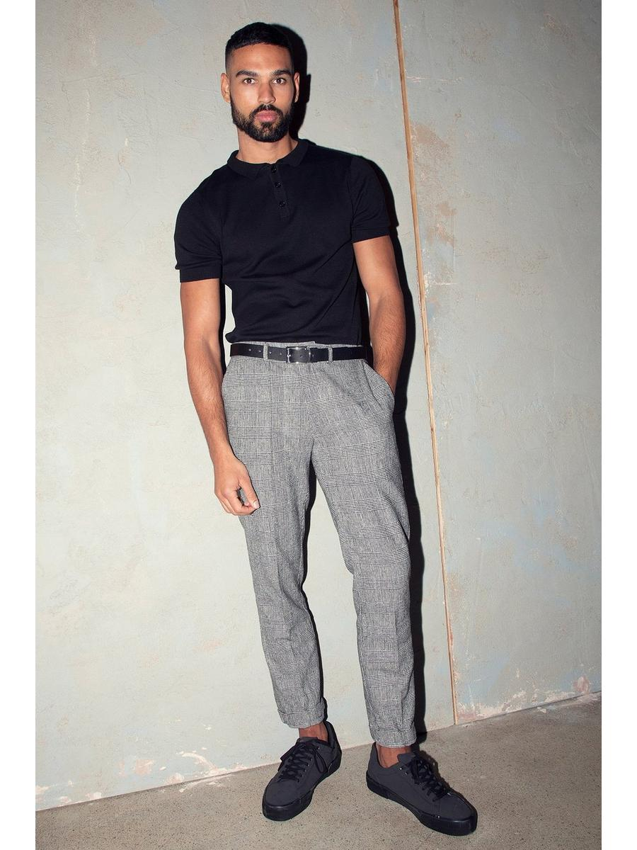 Grey Prince Of Wales Check Trousers
