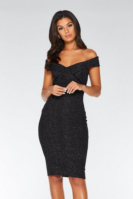 Black Glitter Off The Shoulder Midi Dress
